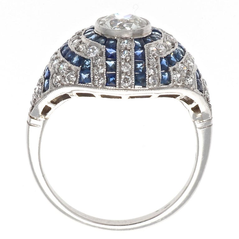 Art Deco Inspired Old European Cut Diamond Sapphire Platinum Engagement Ring In New Condition For Sale In Beverly Hills, CA