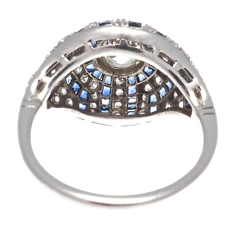 Women's Art Deco Inspired Old European Cut Diamond Sapphire Platinum Engagement Ring For Sale