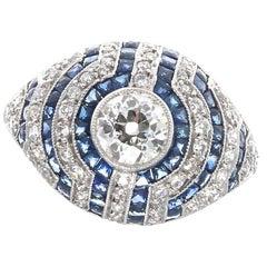 Art Deco Inspired Old European Cut Diamond Sapphire Platinum Engagement Ring