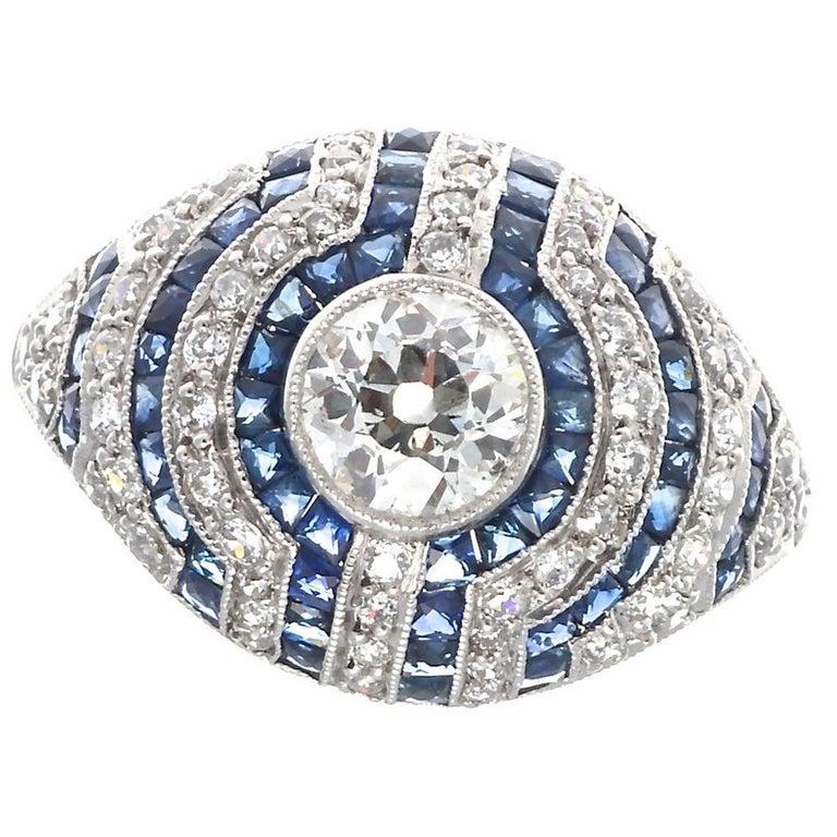 Art Deco Inspired Old European Cut Diamond Sapphire Platinum Engagement Ring For Sale