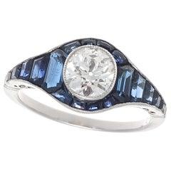 Art Deco Inspired Old European Cut Diamond Sapphire Platinum Ring