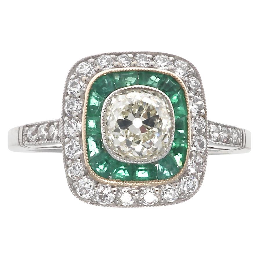Art Deco Inspired Old Mine Cut Diamond Emerald Platinum Engagement Ring