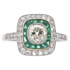 Art Deco Inspired Old Mine Cut Diamond Emerald Platinum Engagement Ring