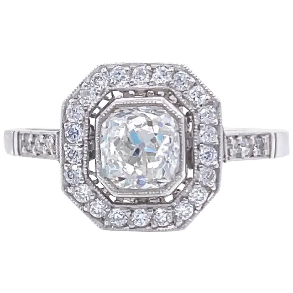 Art Deco Inspired Old Mine Cut Diamond Platinum Ring