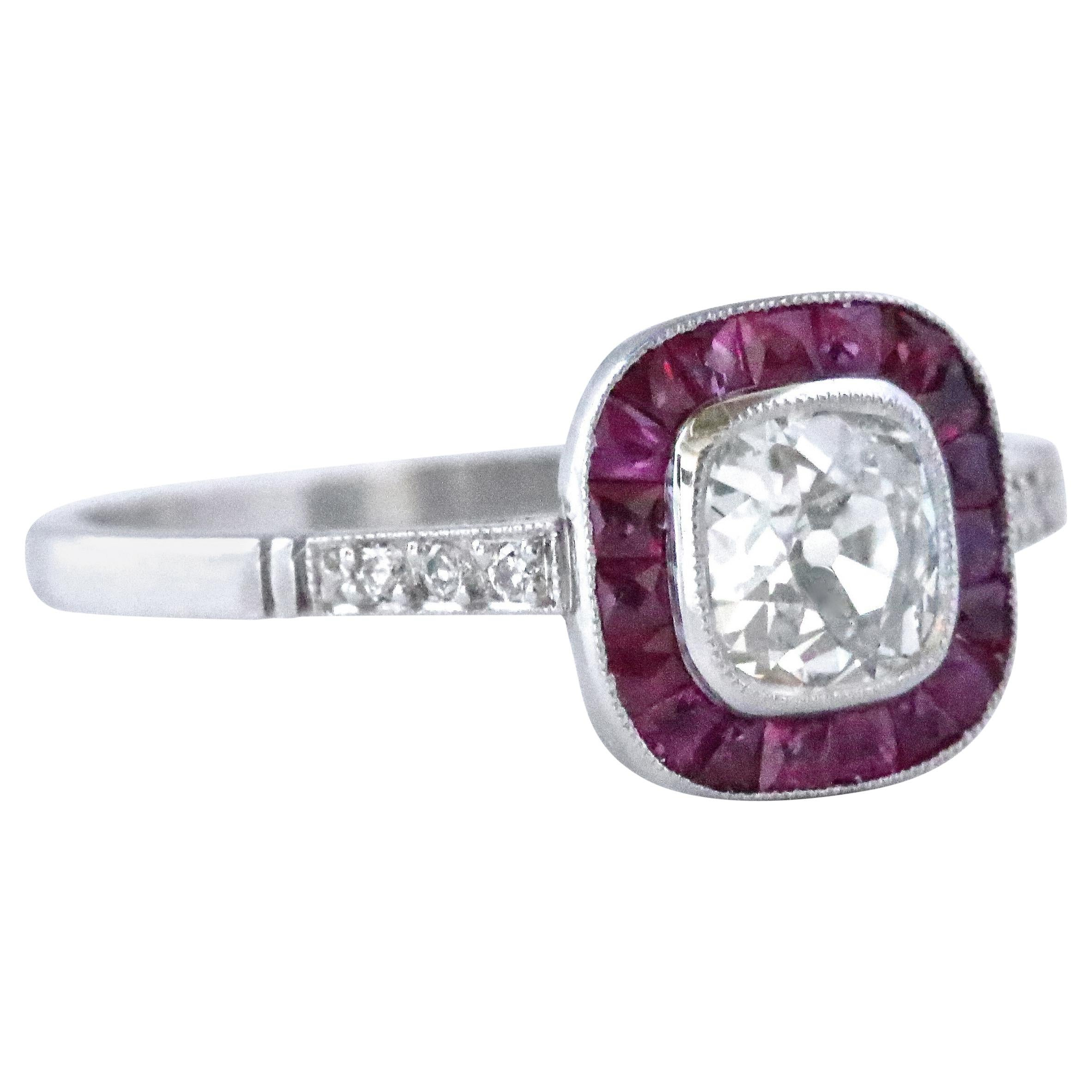 Art Deco Inspired Old Mine Cut Diamond Ruby Platinum Ring