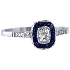 Art Deco Inspired Old Mine Cut Diamond Sapphire Platinum Ring