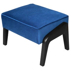Art Deco Inspired Ottoman in Beech Black Ebony and Blue Notte Velvet