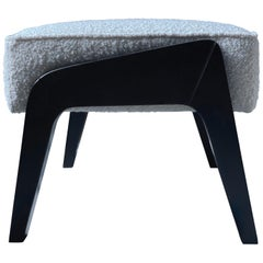 Art Deco Inspired Ottoman in Beech Black Ebony and Ivory Boucle