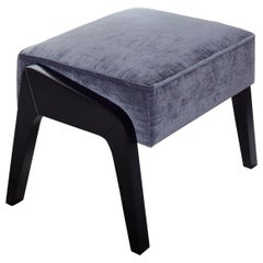 Art Deco Inspired Ottoman in Beech Black Ebony and Storm Grey Ribbed Velvet