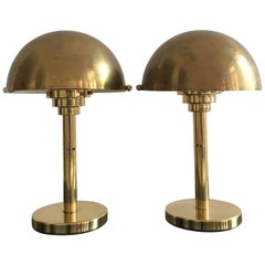 Art Deco Inspired Patinated Brass Mushroom Lamps, Austria, 1970s