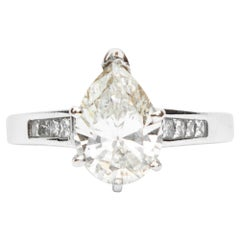 Art Deco Inspired Pear Cut White Gold Diamond Ring