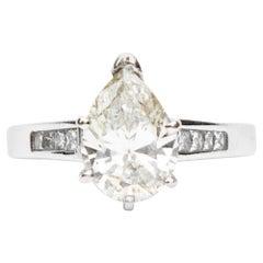 Art Deco Inspired Pear Cut White Gold Diamond Ring