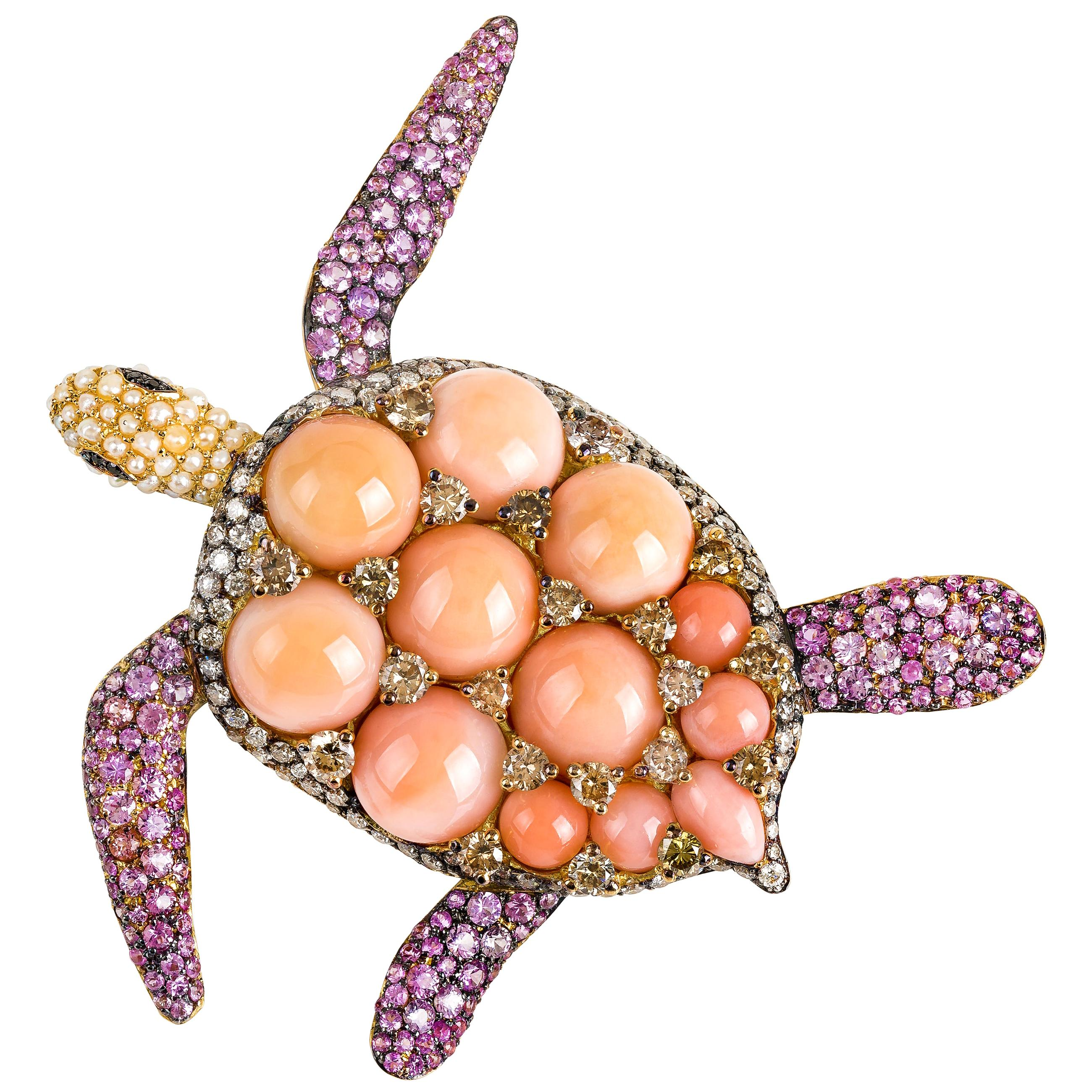 """Pink Coral """"Turtle"""" Brooch in Yellow Gold, Diamonds, Sapphires and Pearls"""