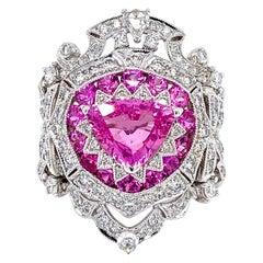 Art Deco Inspired Pink Sapphire and Diamond Ring in 18 Karat White Gold