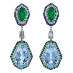 Art Deco Inspired Platinum 23.87 Carat Aquamarine Emerald and Sapphire Earrings