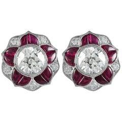 Art Deco Inspired Platinum 4.51 Carat Ruby and Diamond Earrings
