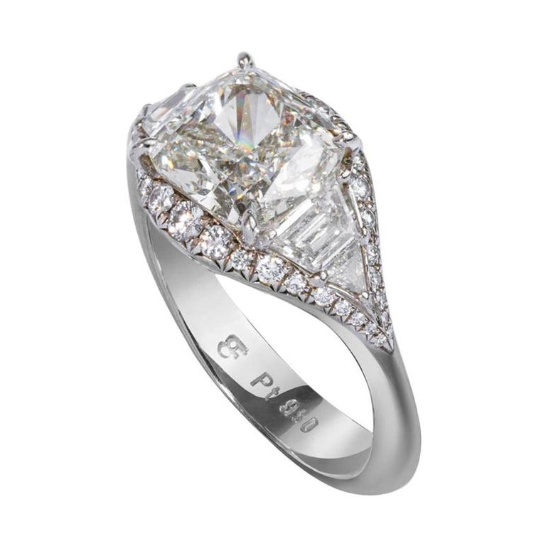 Art Deco Inspired Platinum and 2.6 Carat Cushion-Cut Engagement Ring For Sale