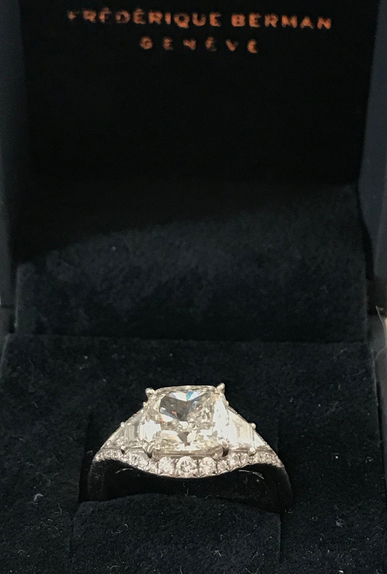Women's Art Deco Inspired Platinum and 2.6 Carat Cushion-Cut Engagement Ring For Sale