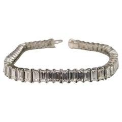 Art Deco Inspired Platinum Baguette Cut Diamond Tennis Bracelet Weight 16.36cts
