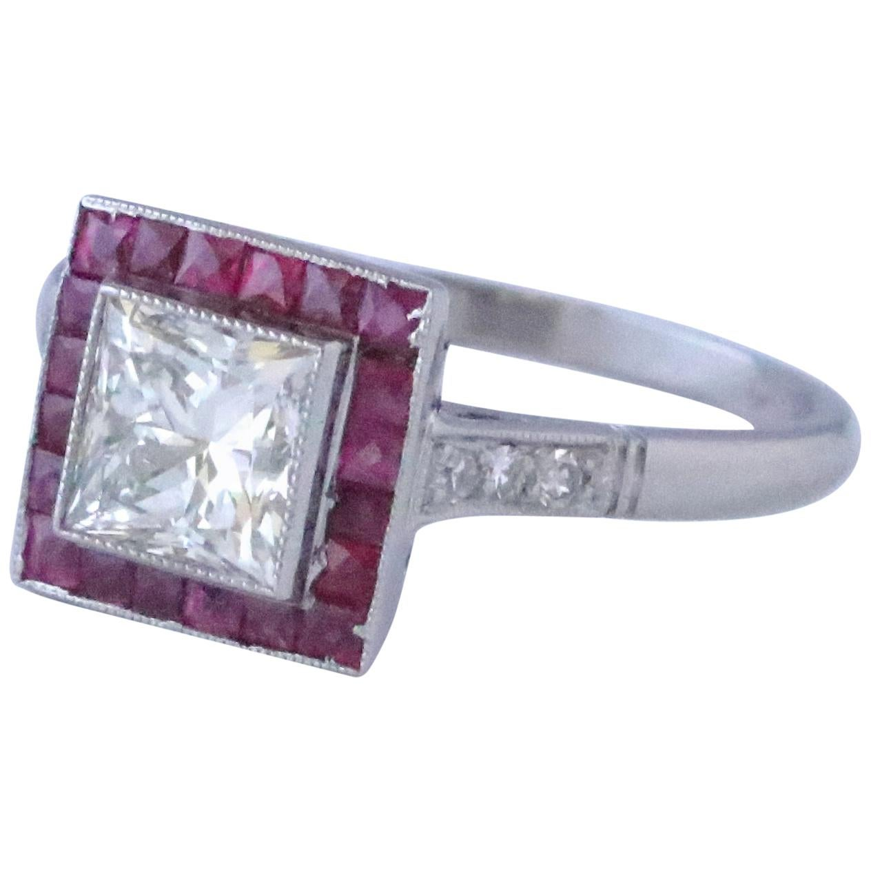 Art Deco Inspired Princess Cut Diamond Ruby Platinum Ring