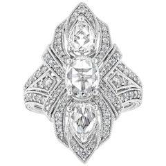 Art Deco Inspired Rose Cut Diamond Ring