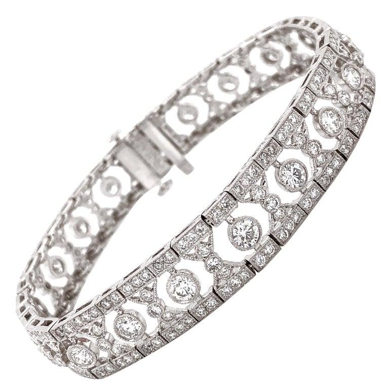 Art Deco Inspired Round Cut Diamonds 6.12 Carat Platinum Bracelet For Sale