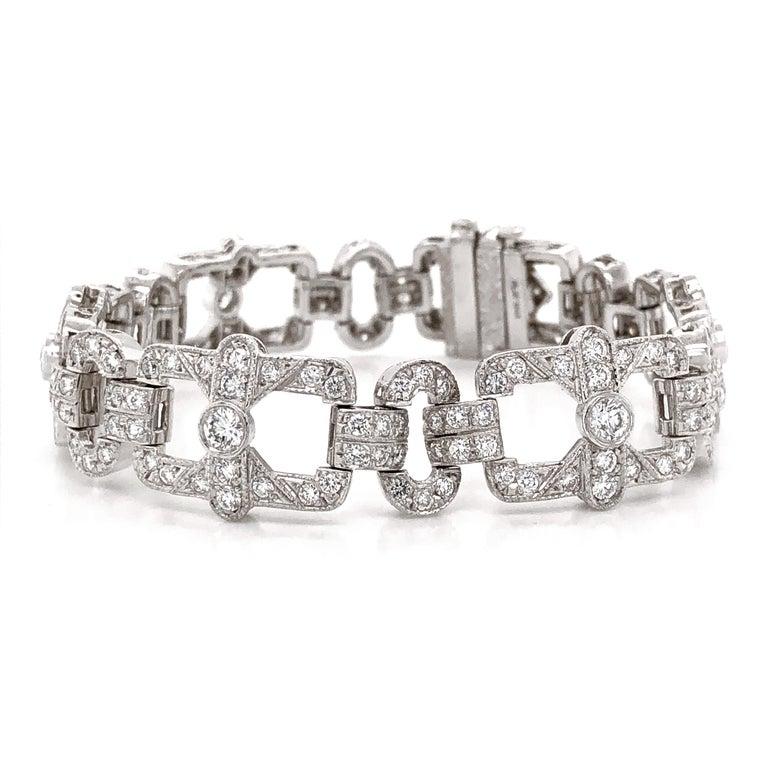 Contemporary Art Deco Inspired Round Cut Diamonds 6.18 Carat Platinum Bracelet For Sale
