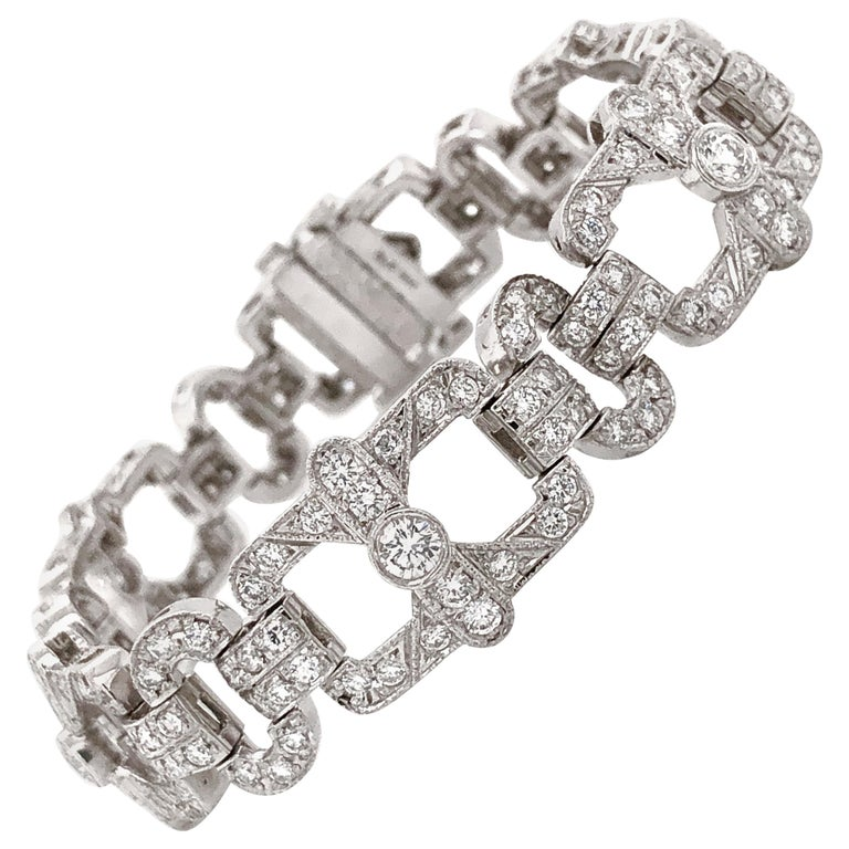 Art Deco Inspired Round Cut Diamonds 6.18 Carat Platinum Bracelet For Sale