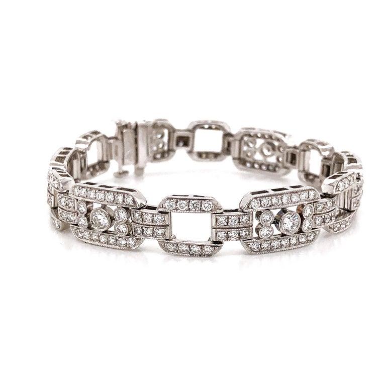 Contemporary Art Deco Inspired Round Cut Diamonds 7.85 Carat Platinum Bracelet For Sale