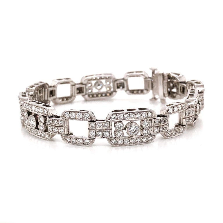 Art Deco Inspired Round Cut Diamonds 7.85 Carat Platinum Bracelet In New Condition For Sale In New York, NY