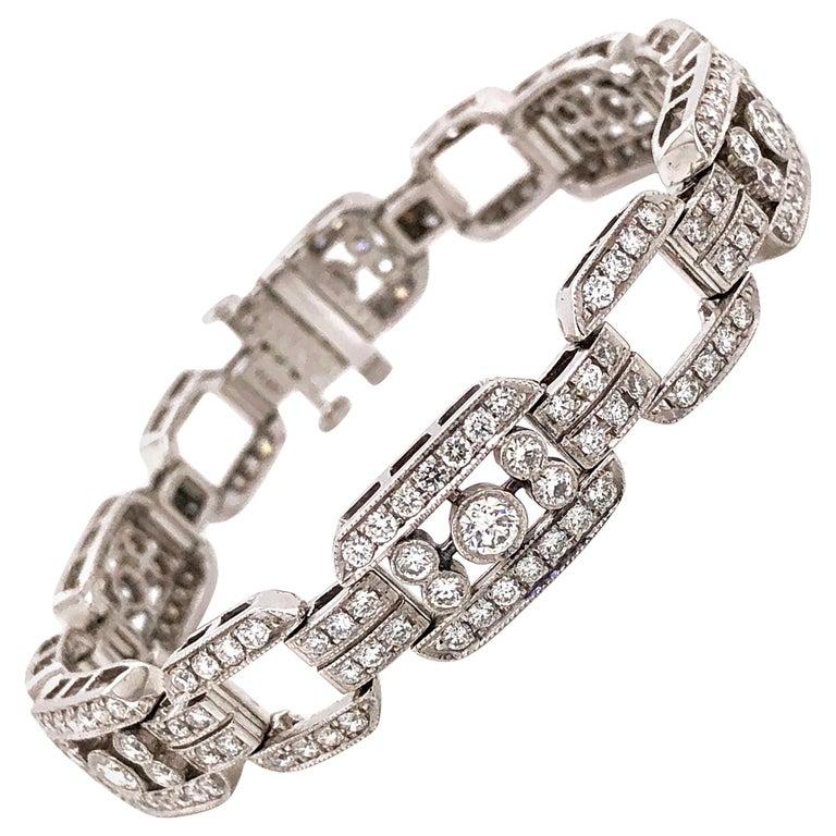 Art Deco Inspired Round Cut Diamonds 7.85 Carat Platinum Bracelet For Sale