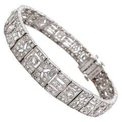 Art Deco Inspired Round Cut Diamonds 8.69 Carat Platinum Link Bracelet