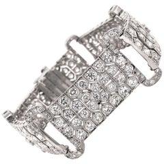 Art Deco Inspired Round Cut White Diamonds 12.28 Carat Platinum Link Bracelet