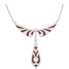 Art Deco-Inspired Ruby and Diamond Necklace, 14.07 Carat