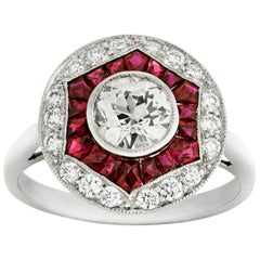 Art Deco Inspired Ruby and Diamond Ring, 1.57 Carat