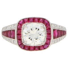 Art Deco Inspired Ruby and Diamond Target Engagement Dress Ring Set in Platinum