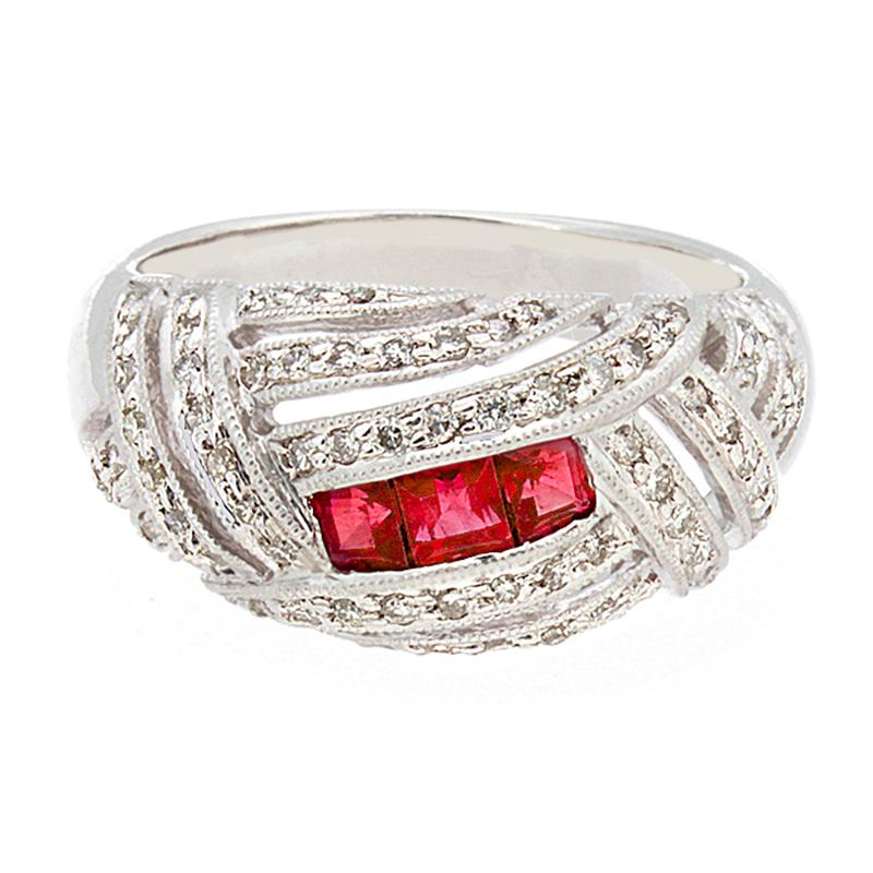 Art Deco Inspired Ruby Diamond Platinum Ring