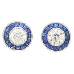 Art Deco Inspired Sapphire and Diamond Target Stud Earrings in Platinum