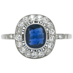 Art Deco Inspired Sapphire Diamond Platinum Engagement Ring