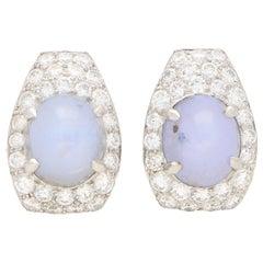 Art Deco Inspired Star Sapphire and Diamond Earrings Set in 18 Karat White Gold