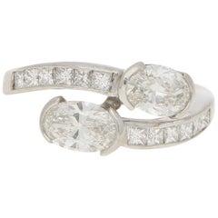 Art Deco Inspired Toi-et-Moi Crossover Ring Set in 18 Karat White Gold