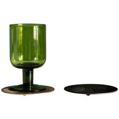 Art Deco Inspired Vulcano Coaster in Antique Brass or Bronze