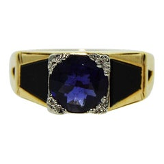 Art Deco Iolite Black Onyx 14 Karat Yellow Gold Ring