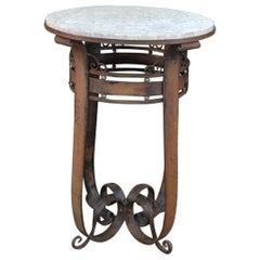 Art Déco Iron and Marble Gueridon Table Circa 1930