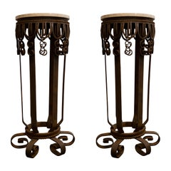 Art Deco Iron and Marble Pair of Columns or Pedestals