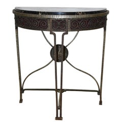 Art Deco Iron Demi Lune Table with Marble Top
