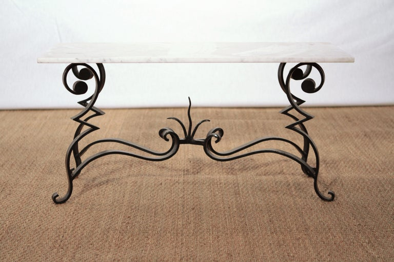 Art Deco Iron Feet Marble Top Coffee Table Style of Raymond Subes, 1950s In Excellent Condition For Sale In Paris, FR