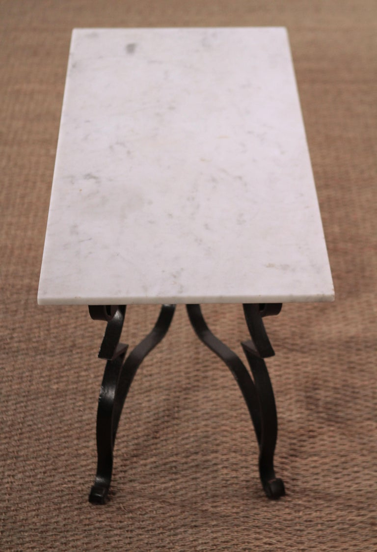 Mid-20th Century Art Deco Iron Feet Marble Top Coffee Table Style of Raymond Subes, 1950s For Sale