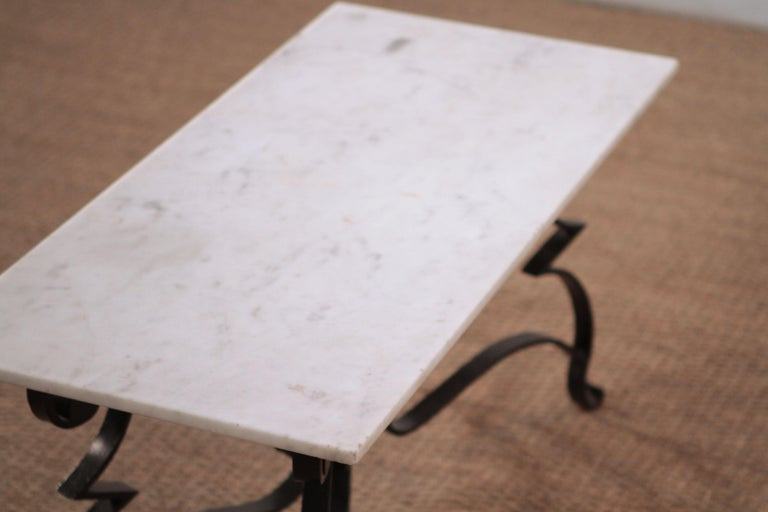 Art Deco Iron Feet Marble Top Coffee Table Style of Raymond Subes, 1950s For Sale 1