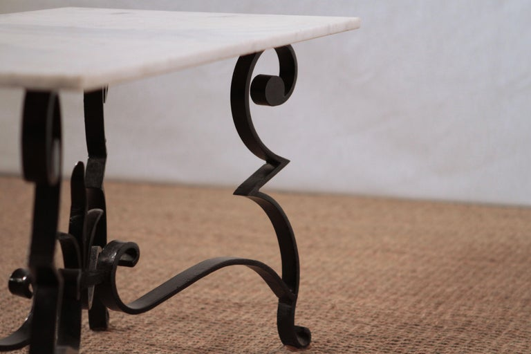 Art Deco Iron Feet Marble Top Coffee Table Style of Raymond Subes, 1950s For Sale 2